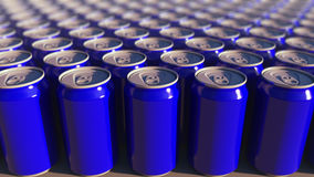 Multiple blue aluminum cans, shallow focus. Soft drinks or beer production. Recycling packaging. 3D rendering royalty free stock images