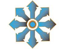 Multiple blue cross with orange edge. Modification multiple Blue cross with orange edge and circle center Stock Images