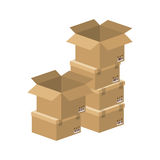 Multiple boxes stacked and opened Royalty Free Stock Images
