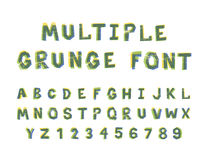 Multiple bright colors grunge font alphabet on white Royalty Free Stock Photos