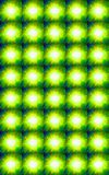 MULTIPLE BRIGHT SUNS PATTERN. Yellow and green sunburst repeat pattern Stock Photography