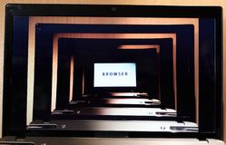 Multiple browser screens in single laptop screen, deepening Internet search. Multiple browser screens in single laptop screen, Internet search, black frame royalty free stock photography