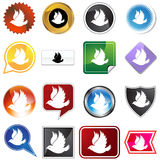 Multiple Buttons - Dove. A set of 16 icon buttons in different shapes and colors - dove bird Stock Images