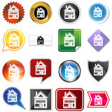 Multiple Buttons - Home. A set of 16 icon buttons in different shapes and colors - home icon stock illustration