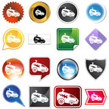 Multiple Buttons - Racecar. A set of 16 icon buttons in different shapes and colors - racecar Stock Image