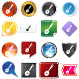 Multiple Buttons - Toilet Brush. A set of 16 icon buttons in different shapes and colors - toilet brush stock illustration