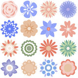 Multiple cartoon flowers Stock Photos