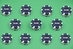 Multiple casino chips Stock Images