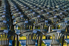 Multiple chairs outdoor, many chairs Stock Photo