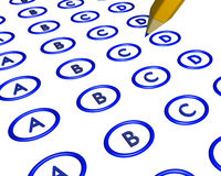 Multiple choice bubble answer sheet. Blank multi line bubble style answer sheet in blue Royalty Free Stock Photos
