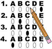 Multiple choice test. Pencil filling in circles on multiple choice test - vector Royalty Free Stock Photography
