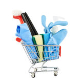 Multiple cleaning instruments in a cart Stock Photo