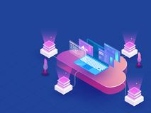 Multiple cloud data server connected to laptop on blue backgroun royalty free illustration