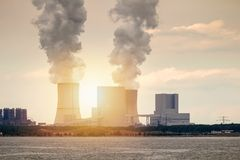 Multiple Coal Fossil Fuel Power Plant Smokestacks Emit Carbon Di Royalty Free Stock Images