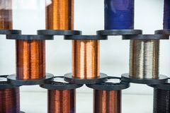Multiple coils with copper, aluminum and brass wire Stock Photo