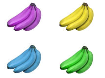 Multiple Color Banana Bunches. Bunch of bananas tinted purple, yellow, blue and green isolated on white background Royalty Free Stock Photography