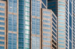 Multiple color buildings in business district area stock photo