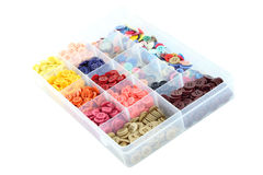 Multiple color buttons focus near in plastic box Stock Photos