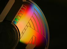 Multiple color cd. Black background Stock Photography