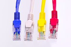 Multiple color network cable on white background Stock Photo