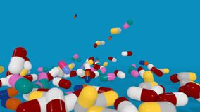 Multiple Color Pills Falling in Slow Motion on a Blue Background. 3D animation. 3D animation of various pills with different colors and sizes falling into a vector illustration