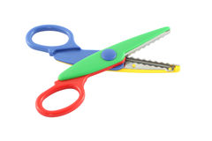 Multiple color plastic scissors opened Royalty Free Stock Photography