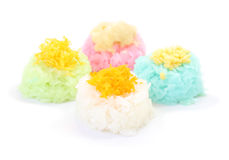 Multiple color of sticky rice with egg custard Stock Image