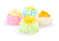 Multiple color of sticky rice with sugar custard Stock Photos