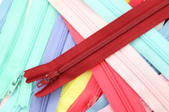 Multiple color zippers Stock Photo