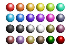 Multiple Colored Balls. A selection of multi colored shiny balls ready for use. Plain white background for ease of cropping Stock Images