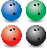 Multiple colored bowling balls. Isolated picture of four bowling balls Royalty Free Stock Photography