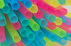 Multiple colored drinking straws Stock Image
