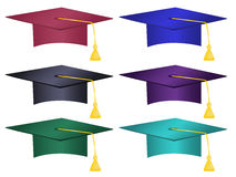 Multiple Colored Graduation Hats Vector. Vector file of graduations hats with multiple colors to choose from Royalty Free Stock Photo