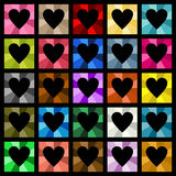 Multiple colored hearts square diamond Stock Photography