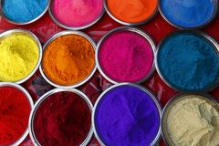 Colored pigments - India. Multiple Colored pigments in India Stock Images
