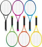 Multiple colored tennis rackets. 6 tennis rackets in different colors Royalty Free Stock Photo