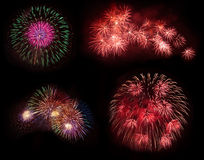 Multiple colorful fireworks  on black Royalty Free Stock Photography
