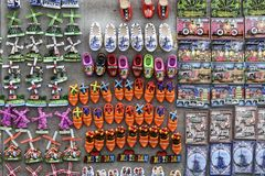 Multiple, colorful fridge magnets from Amsterdam and Holland stock photos