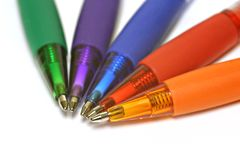 Multiple colorful pens isolated Royalty Free Stock Photo