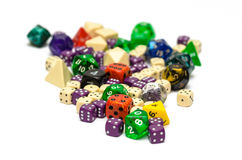 Multiple colorful role playing dices lying on  backgroun Royalty Free Stock Photography