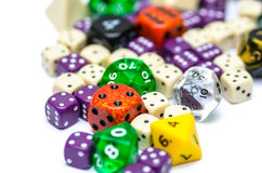 Multiple colorful role playing dices lying on  backgroun Stock Photography
