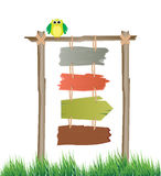 Multiple colorful sign boards, vector. Multiple colorful sign boards hanging on the post with an owl Stock Photos