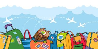 Multiple colorful suitcases bags and backpacks royalty free illustration