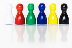 Multiple colors toy figurines Stock Photos