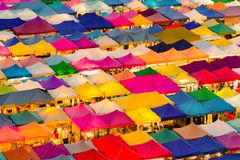 Multiple colour aerial view night flea market royalty free stock photography