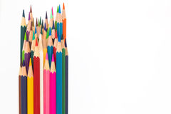Multiple colour wooden pencil on white Stock Images