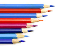 Multiple colour wooden pencil on white background Royalty Free Stock Images
