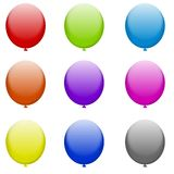Multiple Coloured Balloons. Illustration of 9 isolated and coloured balloons. White background stock illustration