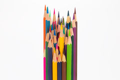 Multiple colours wooden pencils on white Royalty Free Stock Image