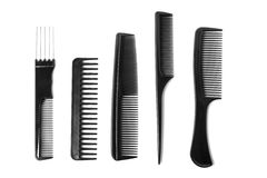 Multiple Combs. Multiple different combs arranged on a white background Stock Images